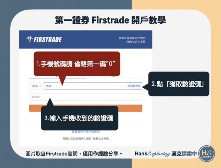 【Firstrade開戶】step 1:進行手機驗證