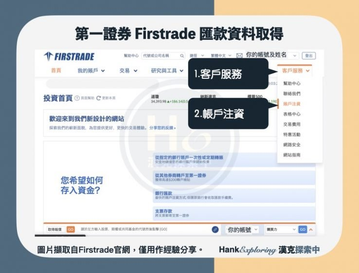 【firstrade入金】匯款資料網頁