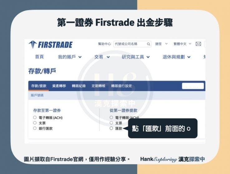 【firstrade出金】step 2:點選匯款