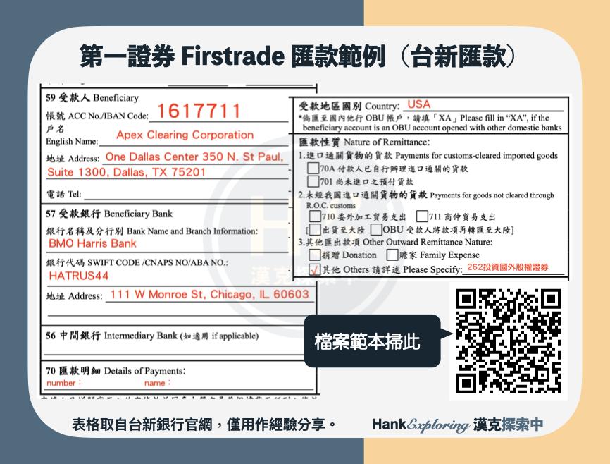 【firstrade匯款】台新銀行匯款至firstrade範例