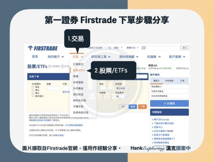 【firstrade 下單】step 1:選擇交易、股票:ETFs