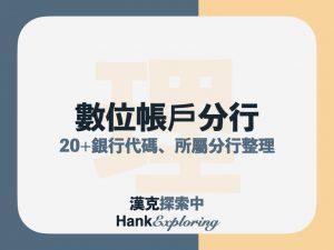 數位帳戶分行總整理|20家銀行代碼、分行名稱及代號