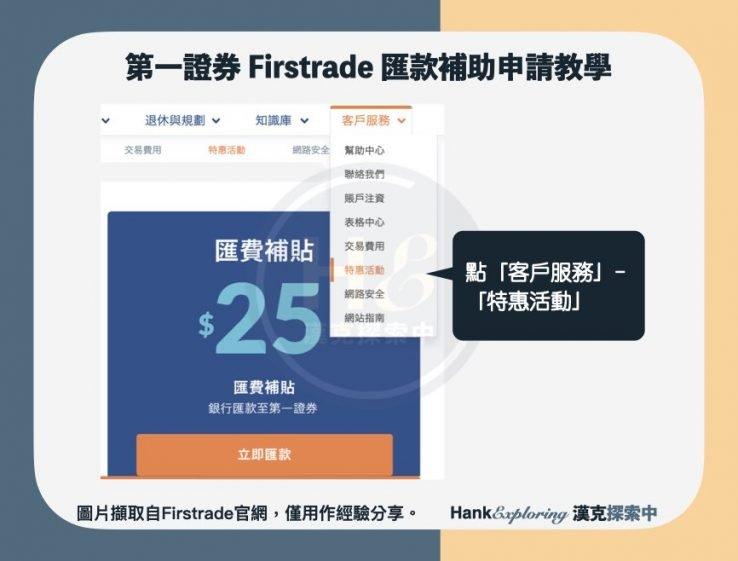 【firstrade匯款補助】申請教學step1